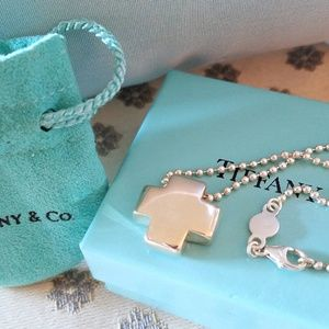 Tiffany & Co Solid Silver Cross w/Ball Chain